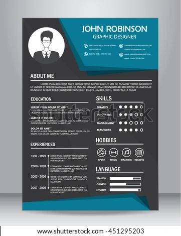 Job Resume CV Design Template Layout Stock Photo (Photo, Vector