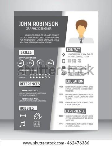 Job Resume CV Template Layout Template Stock Vector 462476386