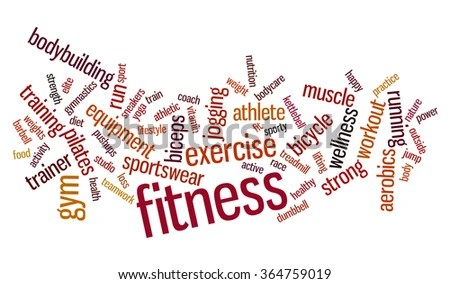 Fitness Word Cloud Workout Typography Background Stock Illustration