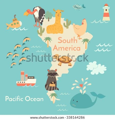 Animals World Map South America South Stock Vector (Royalty Free