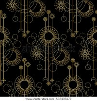 Abstract Seamless Pattern Gold Sun Moon Stock Vector