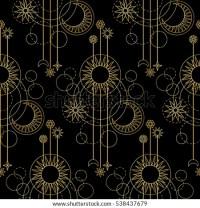 Abstract Seamless Pattern Gold Sun Moon Stock Vector ...