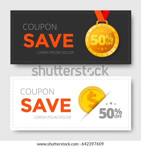 Sale Coupon Template Gold Medal Monet Stock Vector 642397609 - money coupon template