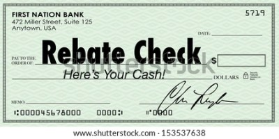 A green check with the words Rebate Check to illustrate a special money or cash back savings ...