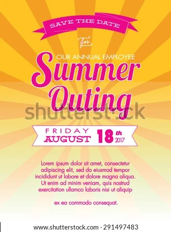 Summer Outing Event Save Date Poster Stock Vector 291497483