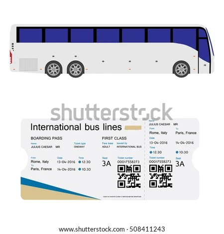 Vector Illustration Bus Boarding Pass Ticket Stock Vector HD - bus pass template