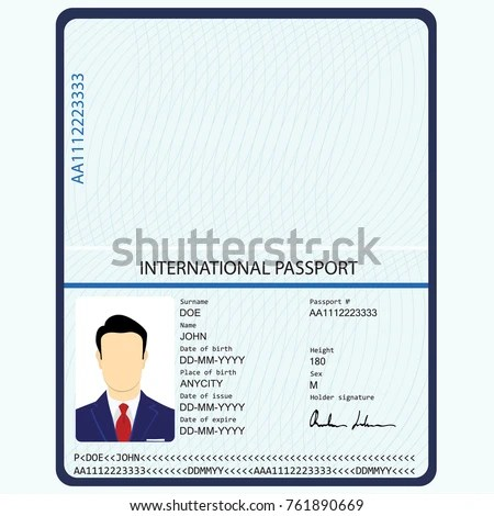 Vector Illustration Passport Biometric Data Identification Stock
