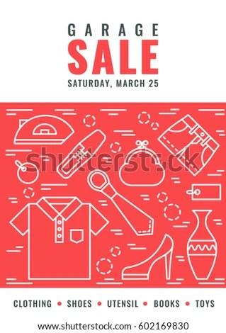 Garage Sale Flyer Template Vector Line Stock Vector (2018) 602169830 - yard sale flyer template