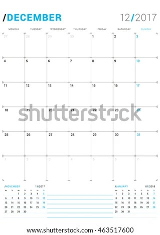 December 2017 Vector Print Template Monthly Stock Vector (2018 - december monthly calender
