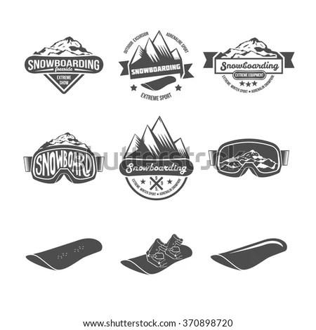 Set Snowboarding Logos Labels Templates Stock Vector (2018