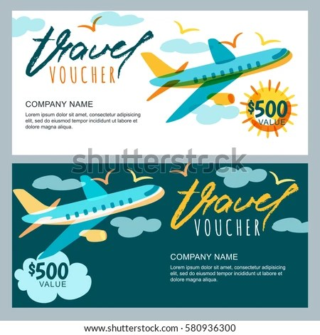 Vector Gift Travel Voucher Template Multicolor Stock Vector