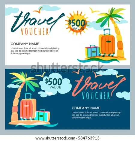 Vector Gift Travel Voucher Template Tropical Stock Vector 584763913 - Travel Gift Certificate Template Free