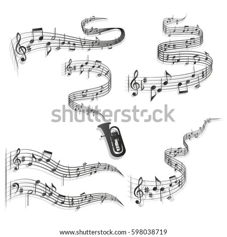 Five Abstract Wavy Staves Vector Format Wavy Stock Vector (Royalty