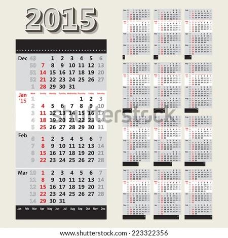 2015 Calendar Grid Week Numbers 4 Stock Vector 223322356 - Shutterstock