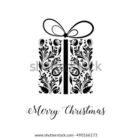 Merry Christmas Black White Christmas Card Stock Vector 490166173 - christmas cards black and white
