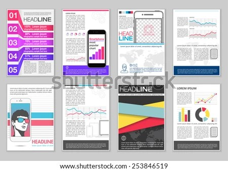 Set Brochure Template Infographic Elements Charts Stock Vector - phamplet template