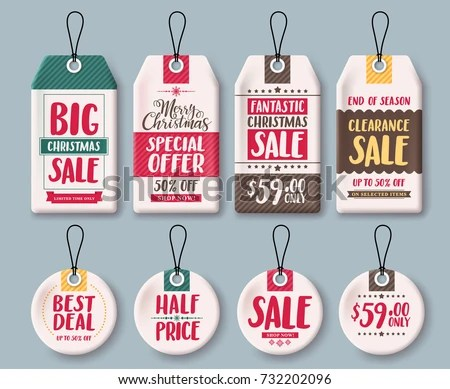 Christmas Tags Vector Template Set Price Stock Vector 732202096