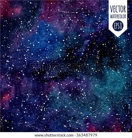Animal Removable Wallpaper Cosmic Background Colorful Vector Watercolor Galaxy Stock
