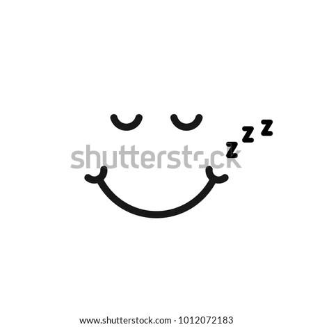 Thin Line Sleep Emoji Logo Like Stock Vector (Royalty Free