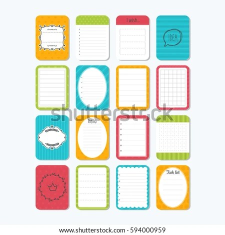Collection Various Note Papers Template Notepad Stock Vector (2018 - notepad paper template