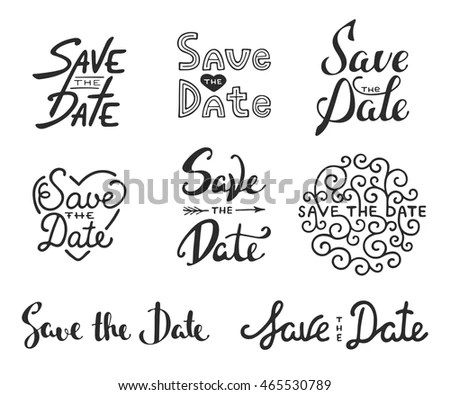 Set Vector Hand Drawn Typography Design Stock Vector (2018
