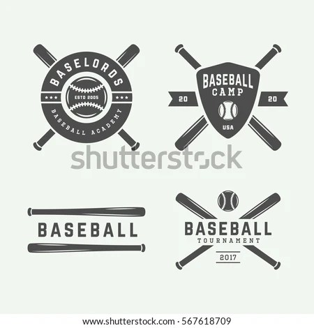 Vintage Baseball Logos Emblems Badges Design Stock Vector (Royalty