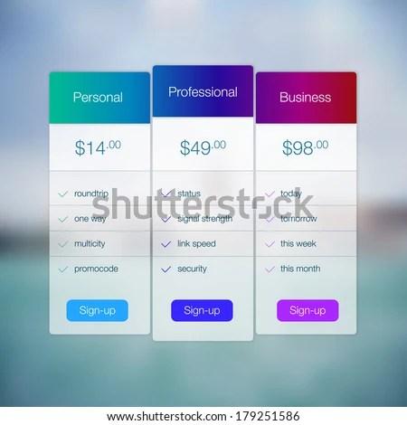 Modern Website Ui Template Design Transparent Stock Vector 179251586 - price list design template