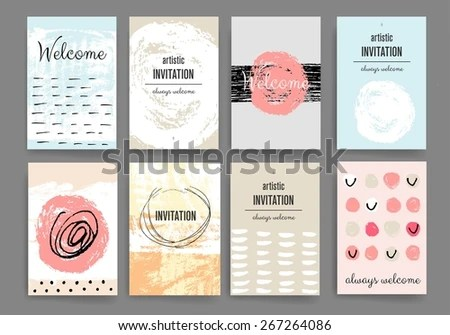 Set Trendy Posters Hand Drawn Background Stock Vector 267264086 - contemporary flyer