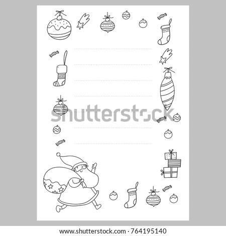 Christmas Coloring Page Christmas Wish List Stock Vector 764195140