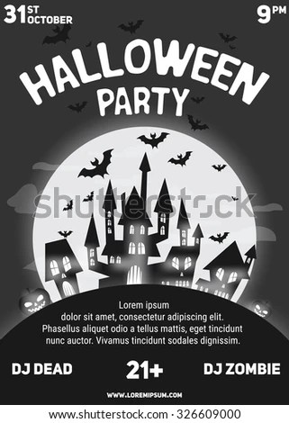 Halloween Party Black Red White Flyer Stock Vector 327227999 - black and white flyer template