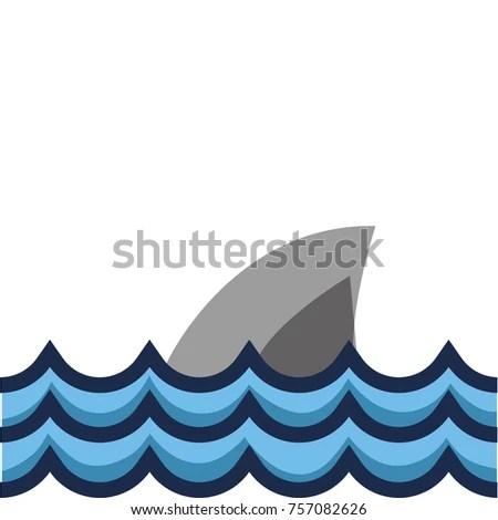 Nature Ocean Waves Shark Animal Stock Vector 757082626 - Shutterstock