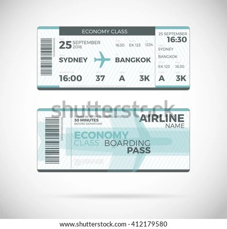 Airline Boarding Pass Economy Class Ticket Stock Photo (Photo - plane ticket template