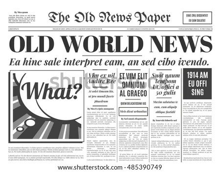 Old Newspaper Vintage Design Retro Background Stock Vector 485390749 - old newspaper template