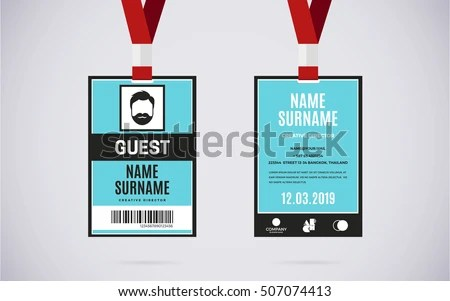Event Guest Id Card Set Lanyard Stock Vector 507074413 - Shutterstock - id card template