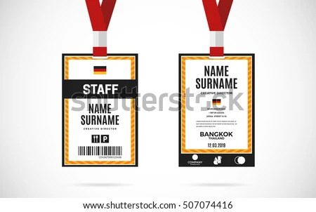 Event Staff Id Card Set Lanyard Stock Photo (Photo, Vector