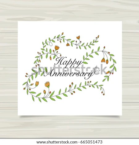 Happy Anniversary Card Template Stock Vector (Royalty Free