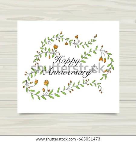 Happy Anniversary Card Template Stock Vector 665051473 - Shutterstock