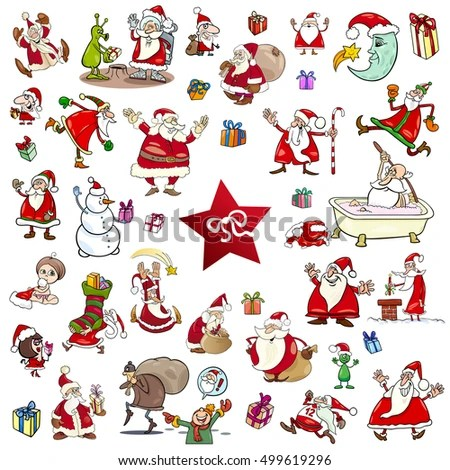Cartoon Illustration Christmas Themes Characters Clip Stock Vector - christmas themes images