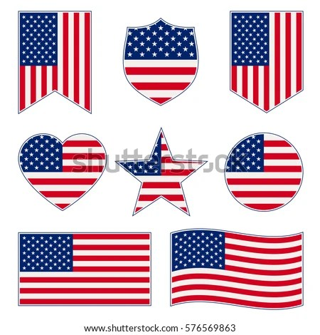 Set American Flags Different Shapes Frame Stock Vector (Royalty Free