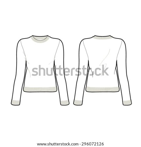 Woman Knitted Sweater Template Stock Vector (2018) 296072126