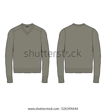 Men Vneck Sweater Template Stock Vector 526344646 - Shutterstock