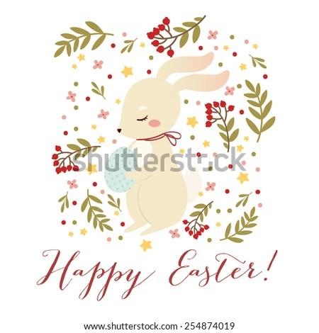 Happy Easter Greetings Card Template Cute Stock Vector (2018 - easter greeting card template