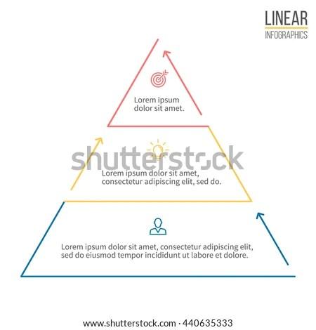 Pyramid Infographics Linear Diagram Chart 3 Stock Vector HD (Royalty