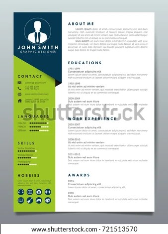Resume Design Template Minimalist Cv Business Stock Vector 721513570 - resume design