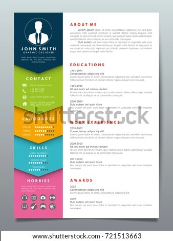 Resume Design Template Minimalist Cv Business Stock Vector (Royalty - Resume Design
