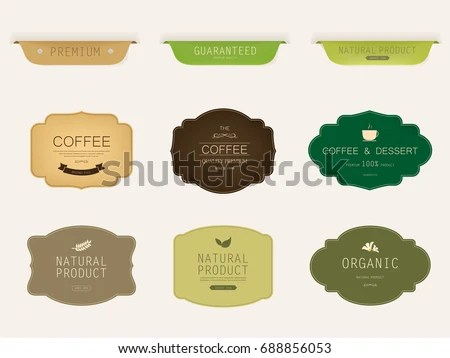 Set Natural Label Organic Label Green Stock Vector HD (Royalty Free - label