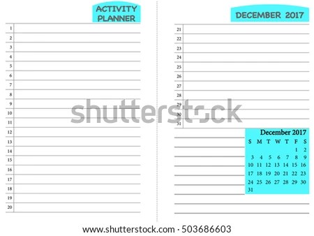 December 2017 Calendar Template Monthly Planner Stock Vector - daily routine chart template