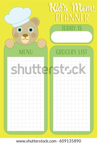 Daily Meal Planner Kids Menu Planner Stock Vector 609135890 - daily menu planner template