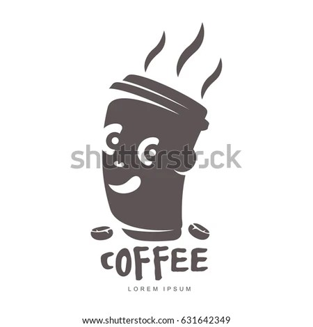 Cartoon Cup Coffee Logo Templates Abstract Stock Illustration