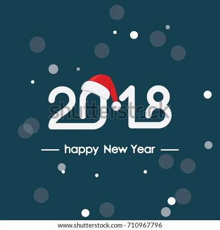 Happy New Year 2018 Text Lettering Stock Vector (Royalty Free